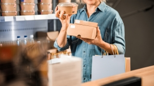 Brown cardboard food packages.